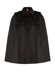 Burberry Wolseley Point Collar Cashmere Cape Black