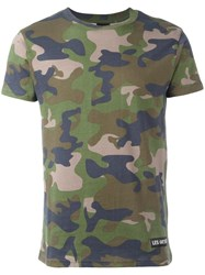 Les Artists Art Ists Camouflage Print T Shirt Green