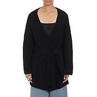 Ryan Roche Women's Cashmere Wrap Belted Cardigan Black Blue Black Blue