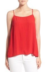 1.State Women's Split Back High Low Tank Red Salsa