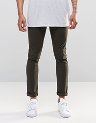 Asos 5 Pocket Super Skinny Trousers In Green Washed Effect Forest Night