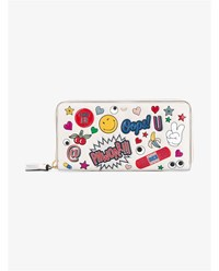 Anya Hindmarch Sticker Embossed Leather Wallet White Multi Coloured
