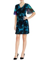Ellen Tracy Sheer Sleeve Dress Blue
