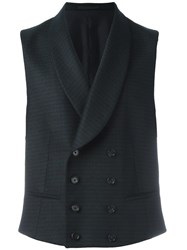 Z Zegna Double Breasted Waistcoat Blue