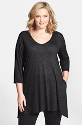 Plus Size Women's Allen Allen Slub Knit V Neck Tunic Black