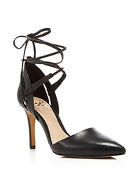 Vince Camuto Bellamy Leather Pointed Toe Lace Up Pumps Black