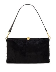 Louise Et Cie Alis Leather Real Rabbit Fur Octagon Clutch Black