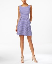 Jessica Simpson Open Back Striped Fit And Flare Dress Blue White