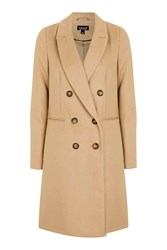 Topshop Double Breasted Coat Camel