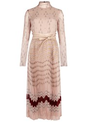 Valentino Printed Plisse Silk Chiffon Dress Nude