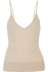 Tamara Mellon Ribbed Cashmere Top Nude