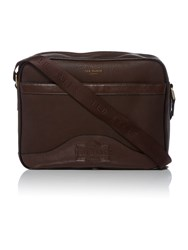 Ted Baker Oscar Embossed Messenger Bag Chocolate