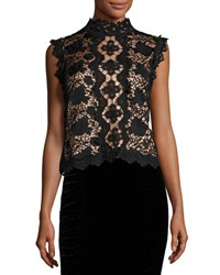 Nanette Lepore Sleeveless Boxy Lace Top Black Nude Black Nude