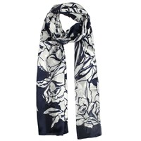 Dents Ladies Hibiscus Floral Print Scarf Navy And White