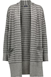 Splendid Striped Knitted Cardigan Gray