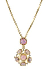 Kenneth Jay Lane Opalescent Pendant Necklace With Crystal Embellishment Gold