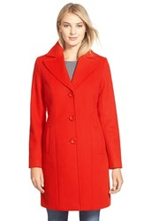 Petite Women's Kristen Blake Single Breasted Wool Blend Coat Tomato
