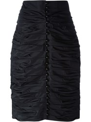 Lanvin Vintage Ruched Pencil Skirt Black