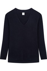 Iris And Ink Silvia Ribbed Cashmere Sweater Navy