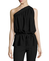 Helmut Lang One Shoulder Silk Blend Top Black