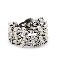 Uno De 50 Leather And Bead Layered Bracelet Silver