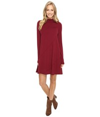 Mod O Doc Cotton Modal Spandex Jersey Seamed Funnel Neck Swing Dress Chianti Women's Dress Red