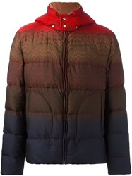 Missoni Striped Hooded Puffer Jacket Red