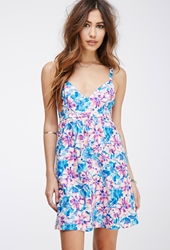 Forever 21 Floral Print Babydoll Dress Pink Cream