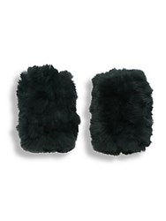 Jocelyn Rabbit Fur Fingerless Gloves Hunter Green