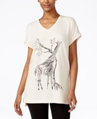 Styleandco. Style Co. Giraffe Graphic Short Sleeve Sweatshirt Only At Macy's Oatmeal Heather