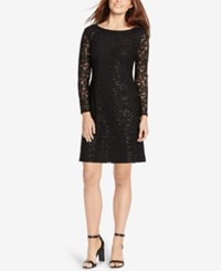 American Living Sequined Floral Lace Dress Black