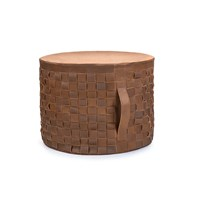 Ugg Woven Leather Pouf Sugar Pine