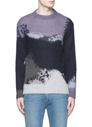 Paul Smith Abstract Pattern Intarsia Mohair Blend Sweater Blue Multi Colour