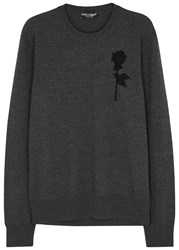 Dolce And Gabbana Charcoal Rose Applique Wool Jumper Grey