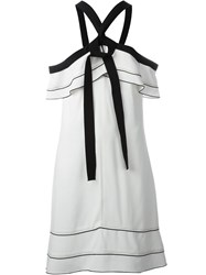 Proenza Schouler Off Shoulder Bow Dress White
