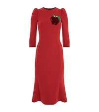 Dolce And Gabbana Embellished Apple Pencil Dress Female Red