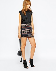 Vila Embrodiered Aztec Mini Skirt Black