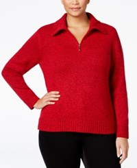 Karen Scott Plus Size Marled Quarter Zip Sweater Only At Macy's New Red Amore Marl