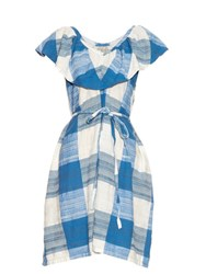 Ace And Jig Adriatic V Neck Cotton Dress Blue White