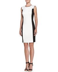Halston Heritage Colorblock Ponte Dress Cream Black
