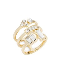 Laundry By Shelli Segal Crystal Pave And Baguette Stacked Cocktail Ring White