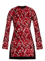 Proenza Schouler Diamond Jacquard Fringed Hem Dress Red Multi