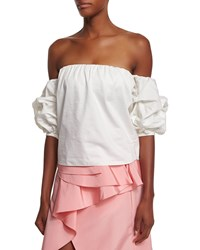 Johanna Ortiz Off The Shoulder Puff Sleeve Top White Size Xx Small