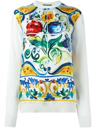 Dolce And Gabbana Majolica Print Panel Jumper White
