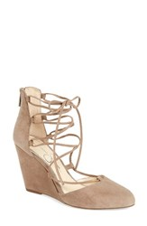 Jessica Simpson Women's Jacee Lace Up Wedge Warm Taupe Suede