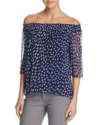 Velvet By Graham And Spencer Off The Shoulder Printed Chiffon Blouse Multi