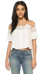 For Love And Lemons Carmine Crop Top White