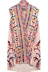 Chloe Embroidered Striped Linen And Silk Blend Tunic Pink