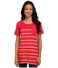Lole Principle Tunic Chillies Multi Stripes Women's T Shirt Red