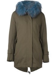 Forte Couture Fur Trimmed Hooded Parka Green